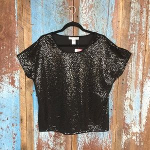 Cathy Daniels Black Round Neck Sequined Top